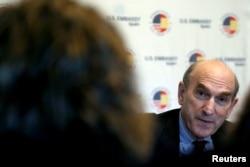 U.S. Venezuela envoy Elliott Abrams speaks during a news conference at U.S. Embassy in Madrid, Spain, April 11, 2019.