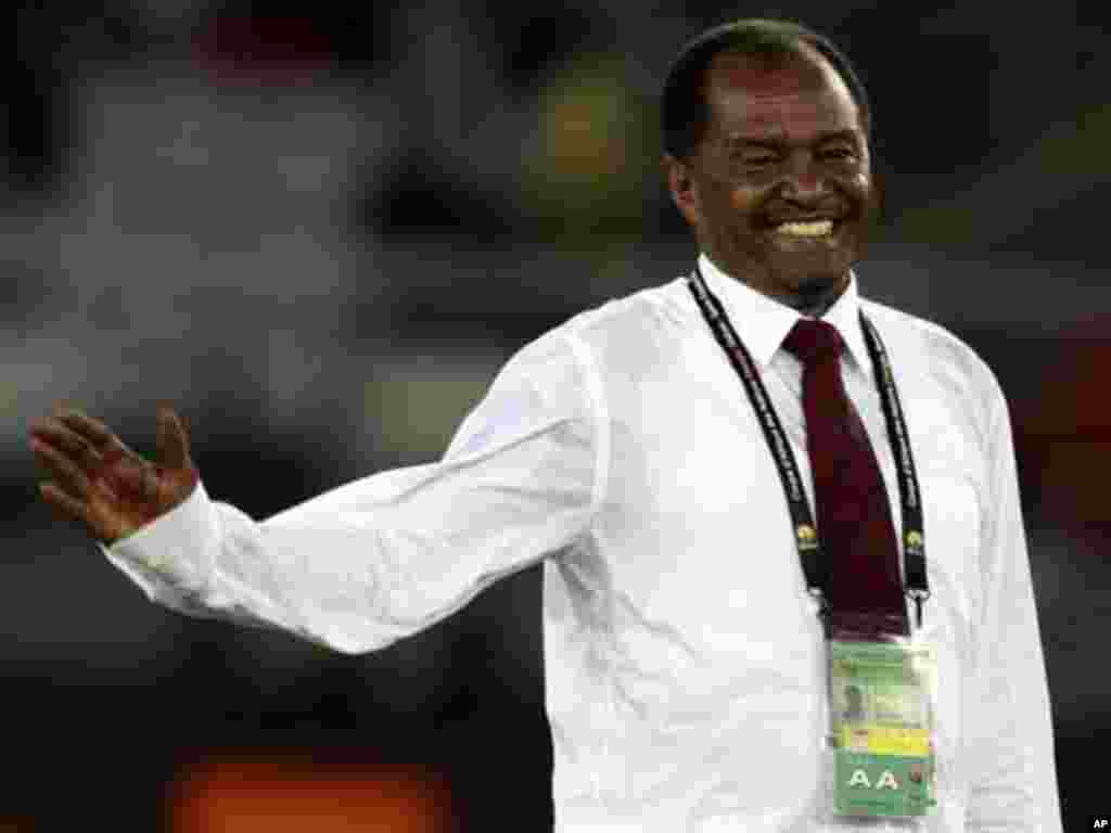 "Sudan's coach Mohamed Abdalla celebrates after his team won their African Nations Cup Group B soccer match against Burkina Faso at Estadio de Bata ""Bata Stadium"", in Bata January 30, 2012."