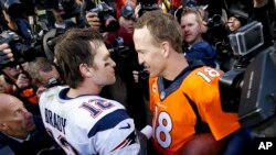 The NFL season begins Thursday without two of the most prominent players. Tom Brady, left, is suspended. Peyton Manning, right, retired.