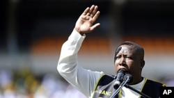 The president of the ruling African National Congress (ANC) youth league, Julius Malema, delivers a speech in Soweto, South Africa. (File Photo - May 15, 2011)