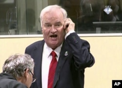FILE - Former Bosnian Serb military commander Ratko Mladic is seen during an angry outburst at the Yugoslav War Crimes Tribunal in The Hague, Netherlands, Nov. 22, 2017.