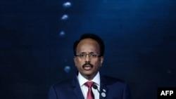 FILE - Somalia's President Mohamed Abdullahi Mohamed, also known as Farmaajo, delivers a speech in Nairobi, Kenya, Nov. 26, 2018.