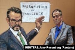 Član tužilačkog tima Steven Schleicheri optuženi Derek Chauvin na sudskoj skici tokom iznošenja završnih riječi. (REUTERS/Jane Rosenberg)