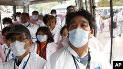 일본 후쿠시마 원전 지대에서 대피하는 시민들