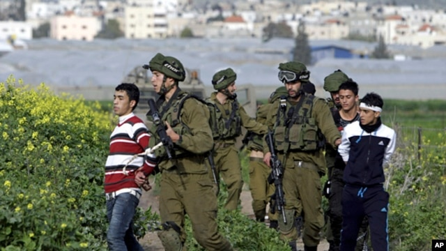 Israeli soldiers arrest Palestinian youths during a protest north of the West Bank city of Jenin in support to the Palestinian prisoners, Feb. 22, 2013.