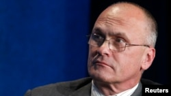 "Andrew Puzder, CEO of CKE Restaurants, takes part in a panel discussion titled ""Understanding the Post-Recession Consumer"" at the Milken Institute Global Conference in Beverly Hills, California April 30, 2012."