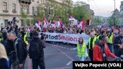 """Protest """"1 od 5 miliona"""" prošle nedelje nije išao do TV Pink kako je bilo najavljeno, Foto: VOA"""
