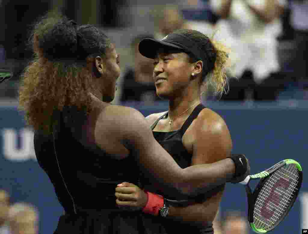 Serena Williams hugs Naomi Osaka, of Japan, after Osaka defeated Williams in the women's final of the U.S. Open tennis tournament, Sept. 8, 2018, in New York.