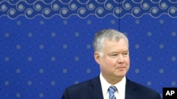 스티븐 비건 미국 국무부 대북특별대표가 지난 2018년 10월 한국 방문 중 북한의 비핵화 실무협상 복귀를 촉구했다.