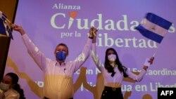 Oscar Sobalvarro, exjefe de la Resistencia Nicaragüense, y Berenice Quezada, miss Nicaragua 2017, candidata a la vicepresidencia y compañera de fórmula del partido Alianza Ciudadana por la Libertad (ACxL).