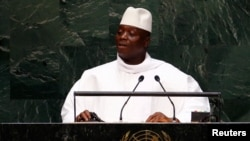 FILE - Yahya Jammeh, president of Gambia, speaks to the U.N. General Assembly in New York, Sept. 25, 2014.