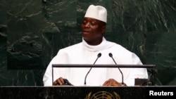 冈比亚总统叶海亚•贾梅在纽约联合国大会上发言,2014年9月25日。(资料图)