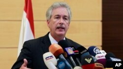U.S. Deputy Secretary of State William Burns speaks during a press conference at Rafik Hariri International Airport in Beirut, Lebanon, Monday, July 1, 2013. Burns denounced Monday that Hezbollah for its involvement in Syria's civil war and said the Leban