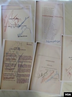 遭處決人名單由斯大林,莫洛托夫,卡岡諾維奇等蘇共領導人簽字。(美國之音白樺拍攝)