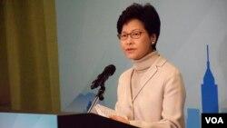 香港特首參選人林鄭月娥 (美國之音湯惠芸)