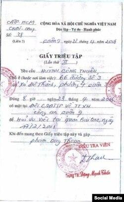 Một giấy mời gửi cho ông Huỳnh Công Thuận