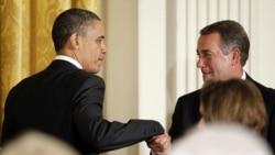باراک اوباما، رییس جمهوری آمریکا ( سمت چپ) و جان بینر ریس مجلس نمایندگان آمریکا (در راست) - آرشیو