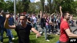 Učesnici protesta u Makedoniji