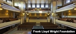To save costs, Frank Lloyd Wright used concrete to rebuild Unity Temple in Illinois, the only remaining Wright Prairie-style building that is open to the public. (Courtesy Frank Lloyd Wright Foundation)