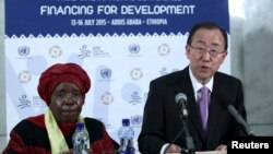 U.N. Secretary-General Ban Ki-moon (R), next to African Union Commission Chairperson Nkosazana Dlamini-Zuma, addresses a news conference during the Third International Conference on Financing for Development in Ethiopia's capital Addis Ababa, July 13, 2015