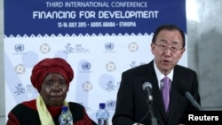 U.N. Secretary-General Ban Ki-moon and African Union Commission Chairperson Nkosazana Dlamini-Zuma at the Third International Conference on Financing for Development in Addis Ababa. VOA Picture.