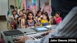 This group is one of five that meets with Selim Sahab and will eventually make up a choir of 300 underprivileged children, Tripoli, Lebanon, Oct. 28, 2017. Sahab began by auditioning about 2,000 children.