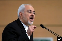 Iran's foreign minister Mohammad Javad Zarif speaks during the Tehran Security Conference in Tehran, Iran, Jan. 8, 2018.