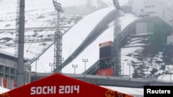 A general view of the Russki Gorki Ski Jumping Center in Krasnaya Polyana near Sochi, Russia, Jan. 21, 2014.