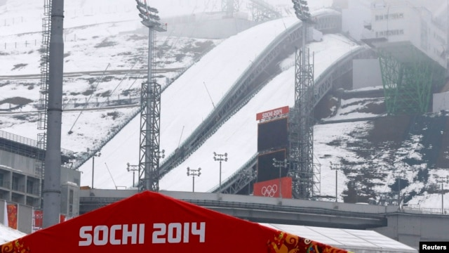 A general view of the Russki Gorki Ski Jumping Center in Krasnaya Polyana near Sochi, Russia, Jan. 21, 2014.