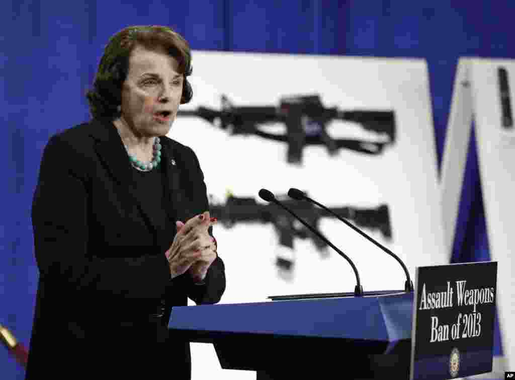 Sen. Dianne Feinstein addresses a news conference on Capitol Hill in Washington, January 24, 2013, to introduce legislation on assault weapons and high-capacity ammunition feeding devices.