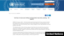 Thông cáo của Báo viên Đặc biệt của LHQ về Việt Nam, ngày 14/1/2021. Photo OHCHR.org