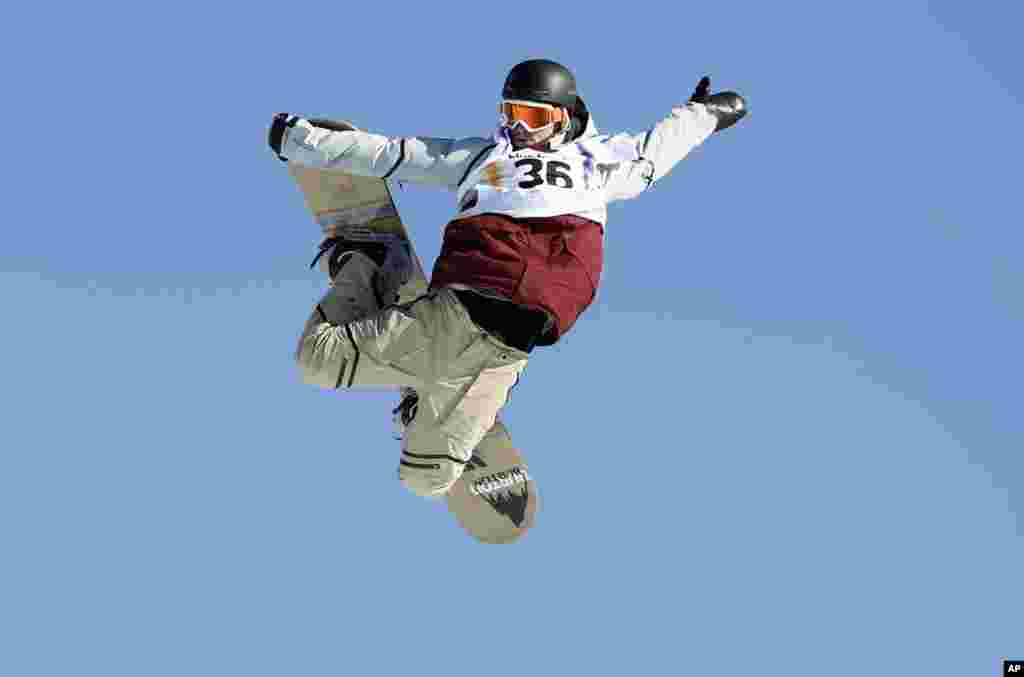 Ryan Stassel from the U.S. competes in the men's snowboard slopestyle event at the Freestyle Ski and Snowboard World Championships in Kreischberg, Austria.