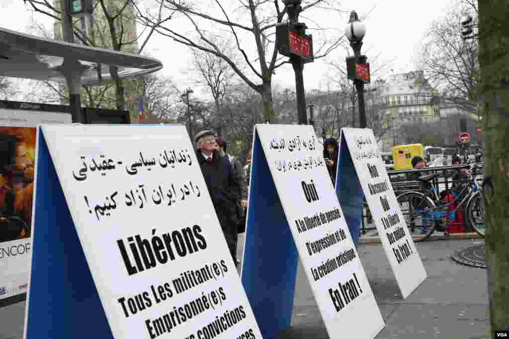 این معترضان در شعارهایشان تاکید داشتند: زندانیان سیاسی - عقیدتی را در ایران آزاد کنیم!