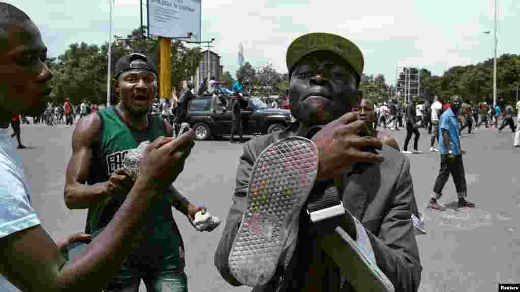 Des membres de l'opposition lors d'une manifestation contre le président Joseph Kabila à Kinshasa, le 19 septembre 2016.