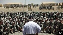 U.S. Secretary of Defense Robert Gates addresses troops at Forward Operating Base (FOB) Sharana in Paktika Province, Afghanistan, June 6, 2011