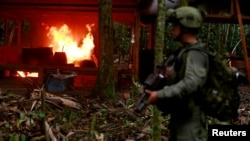 A Colombian anti-narcotics policeman stands guard after burning a cocaine lab, which police said belongs to criminal gangs, in a rural area of Colombia, August 2, 2016. Colombia, one of the world's top cocaine producers, sold $2 billion in illegal drugs inside its own borders last year.
