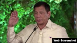 菲律賓總統杜特爾特(法新社視頻截圖)