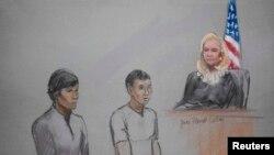 Les accusés Dias Kadyrbayev (à g.) et Azamat Tazhayakov (dans un croquis réalisé au tribunal) ont comparu devant le magistrat fédéral Marianne Bowler à la John Joseph Moakley United States Federal Courthouse à Boston, Massachusetts, le1er mai 2013.