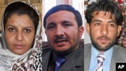 محی الدین نوری سخنگوی والی هرات (راست)، معروف فضلی رییس حزب افغان ملت در هرات (وسط) و گلثوم صدیقی مسئول بنیاد زنان حقوقدان در ولایت هرات (چپ)