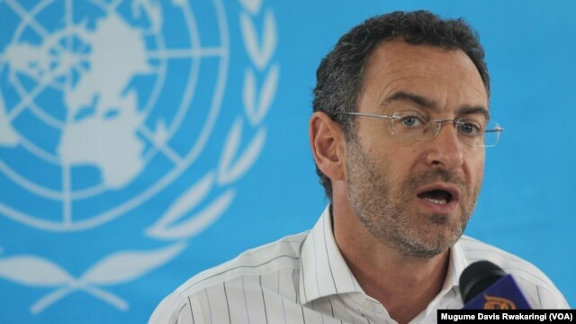 U.N. Humanitarian Coordinator for South Sudan, Toby Lanzer, addresses a news conference in Juba on Sat., June 14, 2014.