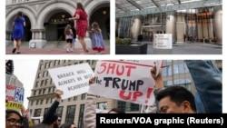 Hotel u Vašingtonu (D) i Čikagu (L) američkog predsednika Donalda Trampa; protest pred zgradom hotela u Čikagu (Foto: Reutes/VOA graphic)