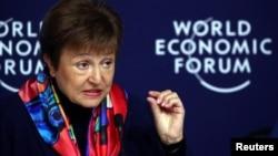国际货币基金组织总裁乔治耶娃在世界经济论坛(WEF)于2020年1月20日在瑞士达沃斯召开之前的新闻发布会上发表讲话。