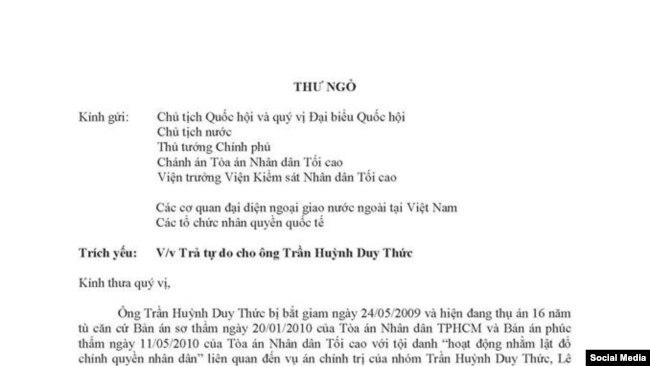 Bức thư gửi lãnh đạo Việt Nam ngày 12/9/2018. Facebook Trần Huỳnh Duy Thức.