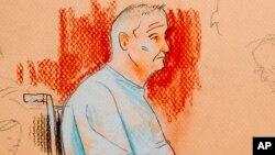 Sketsa gambar Robert Bowers, (46 tahun) saat hadir di pengadilan federal AS di kota Pittsburgh.