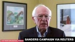 Senator dari negara bagian Vermont, Bernie Sanders mengumumkan dari Burlington, Vermont, Rabu (8/4).