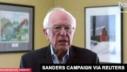 民主党总统参选人桑德斯参议员在家中宣布暂停竞选。(2020年4月8日)