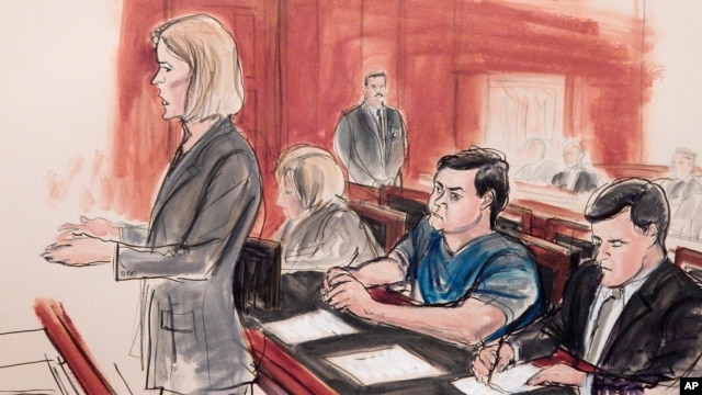 FILE - In this Feb. 11, 2015, courtroom sketch, Assistant U.S. Attorney Anna Skotko, foreground left, addresses the court at the arraignment of Russian citizen Evgeny Buryakov.