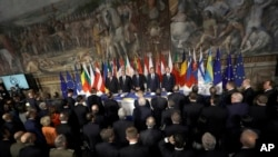 Leaders of the European Union wait for the start of a meeting in the Orazi and Curiazi Hall at the Palazzo dei Conservatori during an EU summit in Rome, March 25, 2017. European Union leaders were gathering in Rome to mark the 60th anniversary of their f