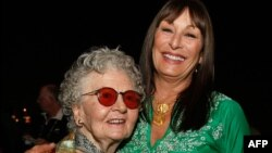 "Journalist Lillian Ross and actress Anjelica Huston of ""Choke"" during the closing night reception at the 2008 CineVegas film festival held at the Palms Casino Resort, June 21, 2008, in Las Vegas, Nevada."