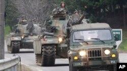 지난달 30일 한국 파주시 판문점 인근에서 미·한 연합 훈련에 참가한 한국군 탱크.